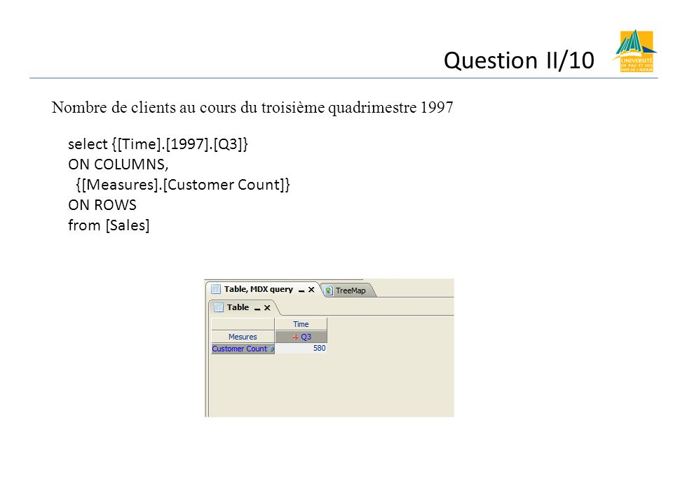 Question II/10 Nombre de clients au cours du troisième quadrimestre 1997. select {[Time].[1997].[Q3]}